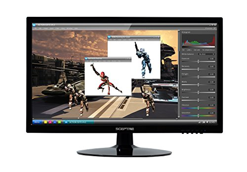 "Sceptre 20"" 1600x900 up to 75Hz Ultra Thin Frameless LED Monitor 2x HDMI VGA Built-in Speakers, Machine Black (Wide Viewing Angle 170° (Horizontal) / 160° (Vertical) ) 2020"