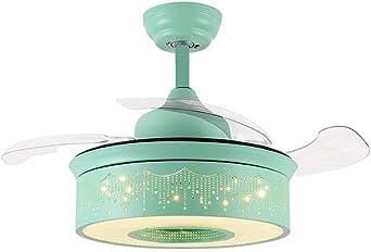 Ventilador de techo con luz 36in Luz de ventilador de techo LED para habitación infantil / 4 aspas del ventilador retráctil Control remoto Ventilador inversor de velocidad del viento ajustable/Ah: Amazon.es: Iluminación