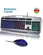 FLAGPOWER Gaming Tastatur und Maus Set Deutsch Layout, QWERTZ Beleuchtete Tastaturen mit Maus 105 Tasten PC Tastatur mit LED Hintergrundbeleuchtung USB Tastature für PC Laptop Computer MEHRWEG