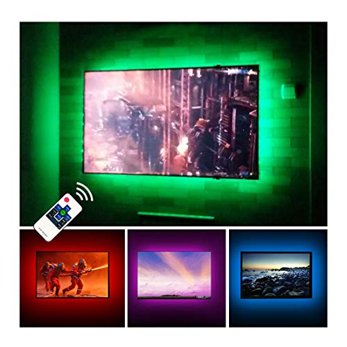TV LED Backlights USB LED Strip Lighting for 60 65 inches Behind TV Monitor Sony LG Samsung HDTV Game Room Home Movie Theater Decor Lights, Color Changing RF Remote Cover 4 Sides (Led Light Home Theater)