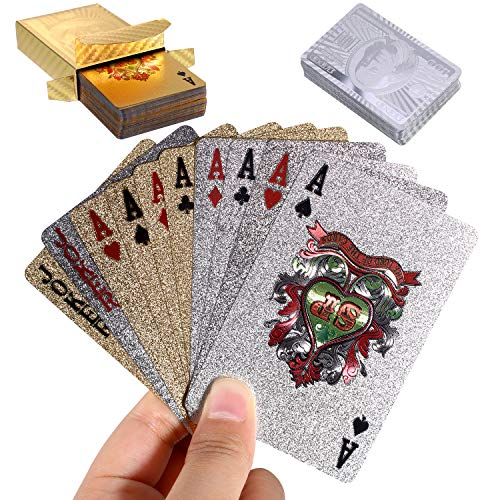 Zonon 2 Decks of 24K Playing Cards Waterproof Poker Game Tools for Party Playing Supplies, Gold and Silver