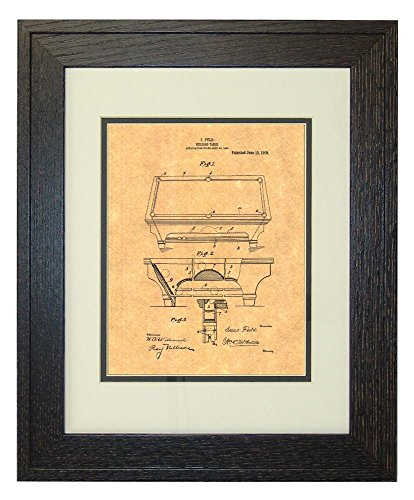 "Billiard Table Patent Art Print in a Rustic Oak Wood Frame with a Double Mat (16"" x 20"")"