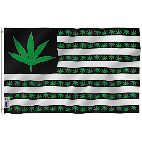 Anley [Fly Breeze 3x5 Foot Marijuana Leaf USA Polyester Flag - Vivid Color and UV Fade Resistant - Canvas Header and Double Stitched - US Marijuana Leaves Flags with Brass Grommets 3 X 5 Ft