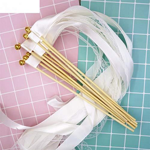 50Pcs White Lace Ribbon Wands Wedding Twirling Streamers Wedding Ribbon Stick Streamers with Bell