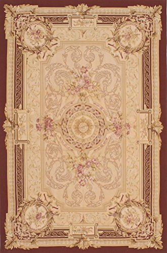 Hand Woven Aubusson Tapestry (Ecarpetgallery Hand-woven French Tapestry Aubusson 6' x 9' Red 100% Wool area rug)