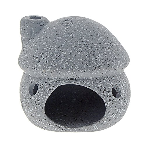 Saim Aquarium Decor Ceramic Mushroom House Ornament Landscape Decor for Small Shrimp to Rest and Breed, Grey