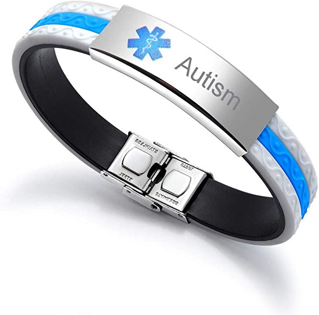 Sunling Free Engraving Stainless Steel Medical Alert Organ Donor Awareness Silicone Bracelet Custom Allergy Namplate Identification Wristband Bangle for Kids,Women,Men