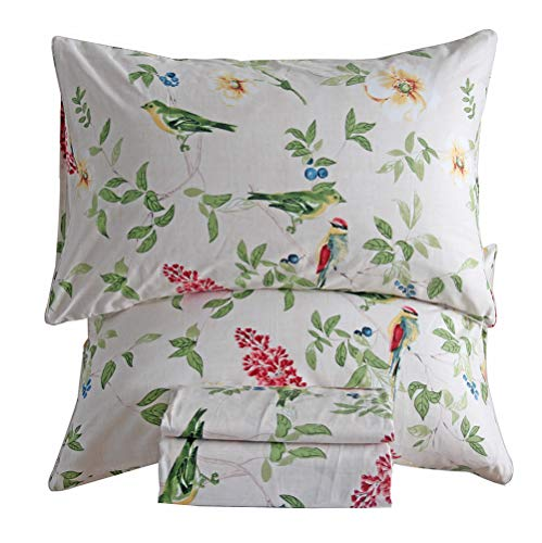 SexyTown Cotton Sheet Set Queen Extra Deep Pocket Bird and Floral Printed Bedding Set Wrinkle and Fade Resistant Sheet and Pillowcase Set Floral B02