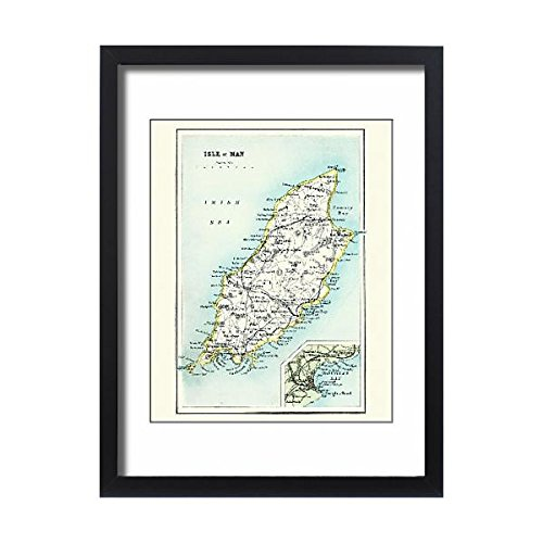 Media Storehouse Framed 24x18 Print of Antique map, Isle of Man 19th Century (15231369) ()