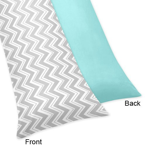 urquoise and Gray Zig Zag Full Length Double Zippered Body Pillow Case Cover ()