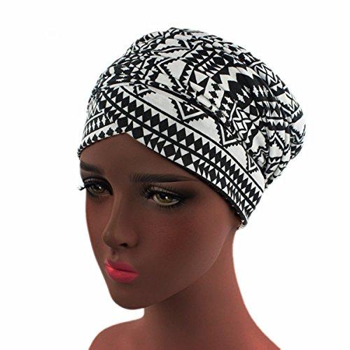 Women Turban Hat Head Wrap - Multi Colour Black African Jersey Magic Headband Turbans Headwrap Tube Scarf Tie Hijab For Hair Muslim Bohemian Boho Chemo ()