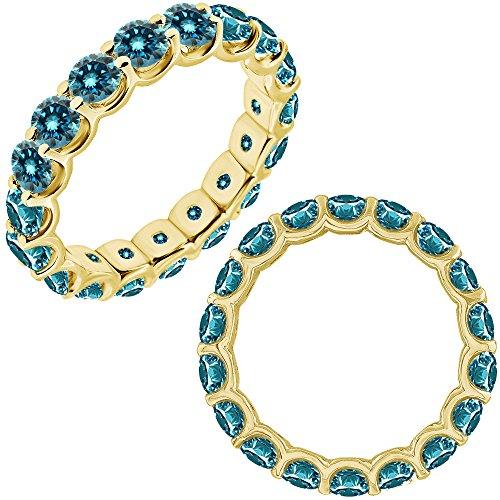 1 Carat Blue Diamond Promise Engagement Wedding U Shape Full Eternity Band Ring 14K White And Yellow ()