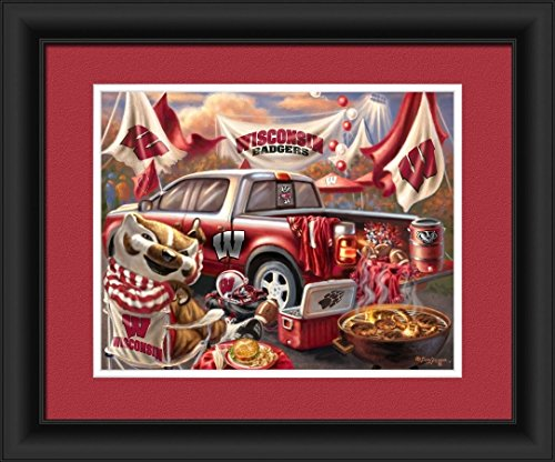 Prints Charming 4865505166 Wisconsin Badgers Tailgate Print Wall Decor - 15 x 18 ()