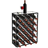 ZENY Steel 32 Bottle Holder Wine Rack Storage Liquor Holder with w/Glass Table Top