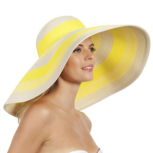 Eric Javits Luxury Fashion Designer Women's Headwear Hat - Stripe Dip Brim - Citron Mix by Eric Javits