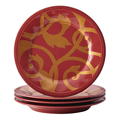 Rachael Ray Dinnerware Gold Scroll 4-Piece Salad Plate Set, Cranberry Red