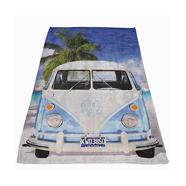 51rqD3LpVkL Große Original Volkswagen Fleece-Decke VW Bulli T1 blau 130 cm x 170 cm Camper-Van VW Bus T1 Decke Kuscheldecke…