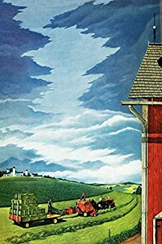 24 by 36 Marmont Hill Vintage-Farm Kitchen Pretty Blue Skies Canvas Wall Art