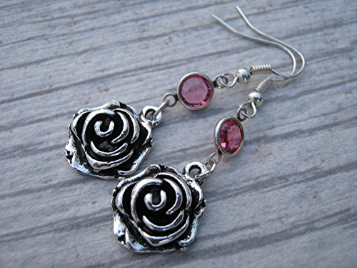 Rose Blossom Birthstone Earrings, Personalized Flower Earrings, Nature Jewelry, Rosebud (Rose Bud Charm)