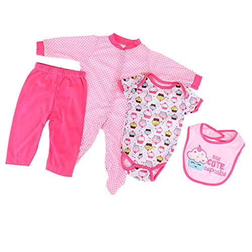 (Fenteer 4pcs Doll Outfits Pure Cotton Suit for 20-22'' Reborn Girl Doll Baby Dolls Accessories)