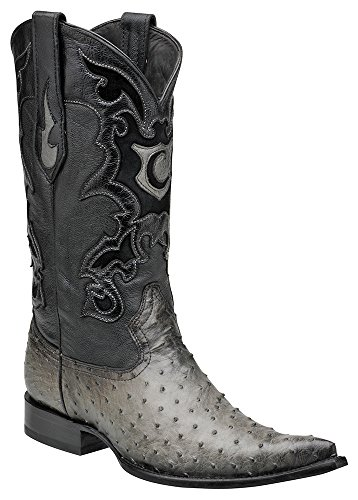 Cuadra Full Quill Ostrich Western Boots Y315A1 (10 D(M) US, Gray)