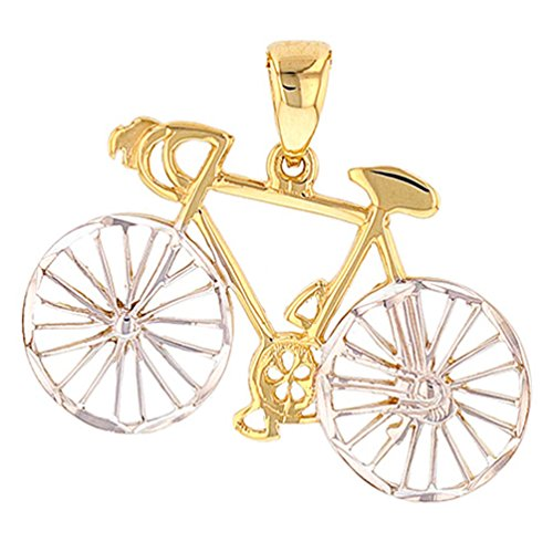 JewelryAmerica Textured 14k Gold Bicycle Charm Bike Pendant with High Polish