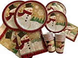 81 Piece Winter Wonderland Snowman Holiday Paper Plates, Napkins, Tablecloth, Cups for 16 - Disposable Christmas Decoration Tableware (Tan Snowman)