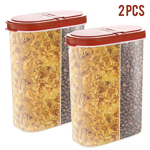 2pcs Airtight Cereal Dispenser Snack Container Storage Keeper 12-18 oz Capacity for Dry Food Flour Nut Sugar with Hovering Flip Top Lid and Large Mouth for Easy Pouring - (Ice Cream Scoop Pastel)