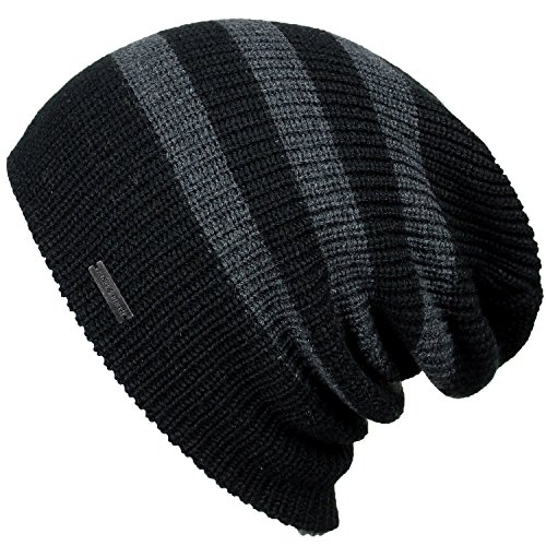 - Slouchy Beanie for Men & Women by King & Fifth | Premium Quality Beanie Hat + Warm Winter Hat + Black Stripe Beanie