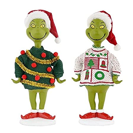 Department 56 Grinch Ugly Sweater Figurine Set