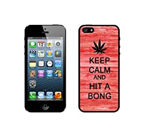 Keep Calm And Hit A Bong - Red Wood - Protective Designer BLACK Case - Fits Apple iPhone 5 / 5S