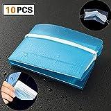 Storage Clip Foldable Portable Clear Reusable Plastic Storage Folder Earloop Organizer Bag Keeper Transparent Dust for Face Mask Pollution Prevention - 10 Packs, Blue