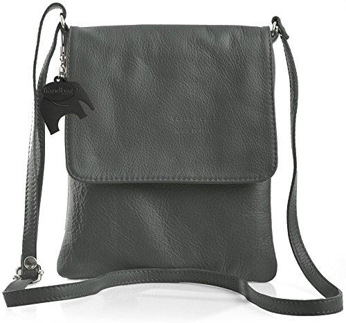 Womens Grey Leather Body Big Mini Shop Dark Handbag Soft Real Cross Bag wqaES4R