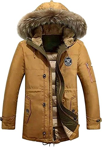 Outerwear Khaki Warm Coats Tomwell Thicken Outdoor Winter with Parka Jacket Field Mens Hood Coat Casual qg68O