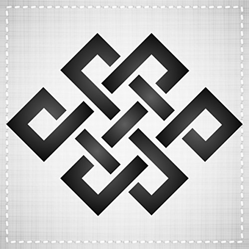 """ENDLESS KNOT STENCIL (size: 3.25""""w x 3.25""""h) Reusable Stencils for Painting - Best Quality TAOIST ASIAN SYMBOLS - Use for SCRAPBOOKING, Walls, Floors, Fabrics, Glass, Wood, Cards, and More..."""