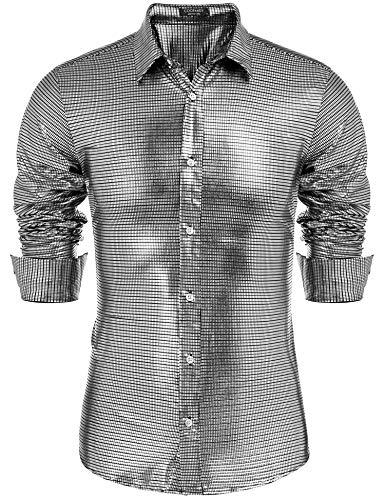 (COOFANDY Men's Disco Shirt Silver Sequin Fashion Nightclub Party Shirt Christmas )