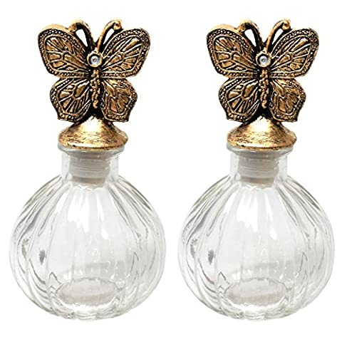 JustNile Refillable Empty Glass Perfume Bottle with Distressed Vintage Decorative Butterfly Stopper - Set of 2, Round Bulb - Butterfly Perfume Stopper Bottle