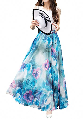 Mid Length Chiffon (Afibi Women Full/Ankle Length Blending Maxi Chiffon Long Skirt Beach Skirt (Large, Design B))