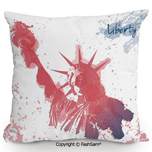 FashSam Home Super Soft Throw Pillow Star Figure in US Flag Colors Over Wooden Planks Holiday National Image for Sofa Couch or Bed(20