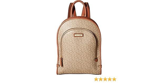Amazon.com: Calvin Klein Womens Monogram Backpack Mini Textured Khaki/Brown Luggage One Size: Clothing