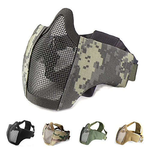 Half Face Lower Mask Foldable Mesh Adjustable Tactical Metal Steel Mask for Airsoft/Hunting/Paintball/Shooting (ACU)