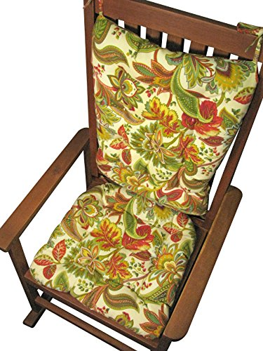 Porch Rocker Cushion Set - Valbella Multi - Extra-Large - Indoor / Outdoor: Fade Resistant, Mildew Resistant - Reversible, Tufted, with Ties, Latex Foam Fill