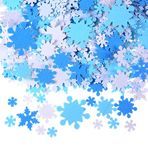 LOCOLO 600 Pieces Mini Foam Snowflake Stickers, Self-Adhesive Snowflake Stickers Decals for Christmas Decoration -
