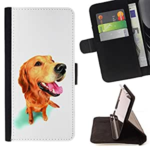 KingStore / Leather Etui en cuir / Samsung Galaxy S4 Mini i9190 / Hocico de oro perro del labrador retriever