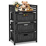 Giantex 3-Drawer Storage Organizer End Table Side Cabinet Nightstand for Bedroom, Office & Living Room Hand-Woven Paper Rope Storage Chest w/Solid Wood Frame 3 Removable Drawers, Black Review