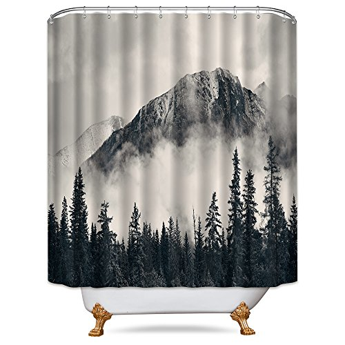 Riyidecor Forest Shower Curtain 72x78 Inch Metal Hooks 12 Pack National Parks Home Decor Smokey Mountain Tree Cliff Outdoor Idyllic Photo Art Decor Fabric Set