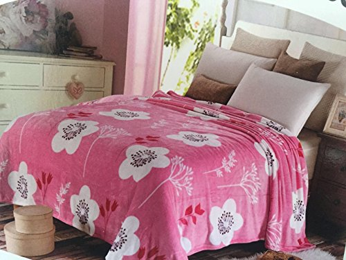 Bliss Brands Desirable Trading Queen Size Ultra Soft Plush Embossed Blanket (Cherry Blossom)