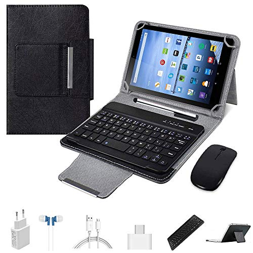 4G Tablets 10.1 inch Android 9.0,2 in 1Tablet with Keyboard, Tablet case & Mouse,4GB RAM 64GB ROM,Dual SIM Call & HD 5MP 8MP,8000mAh Quad Core Computer Tablets, Bluetooth/Google Play/GPS (Black)