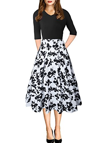 CEASIKERY Women's Vintage Patchwork 3/4 Sleeve Pleated Work Swing Casual Party Dress White & Navy - Business Days Usa
