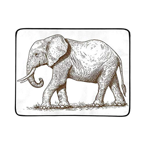 YOLIYANA Elephant Utility Beach Mat,African Safari Animal Sketchy Style Mammal Modern Wilderness Artistic Illustration for Home,One Size (Best Insect Repellent For African Safari)